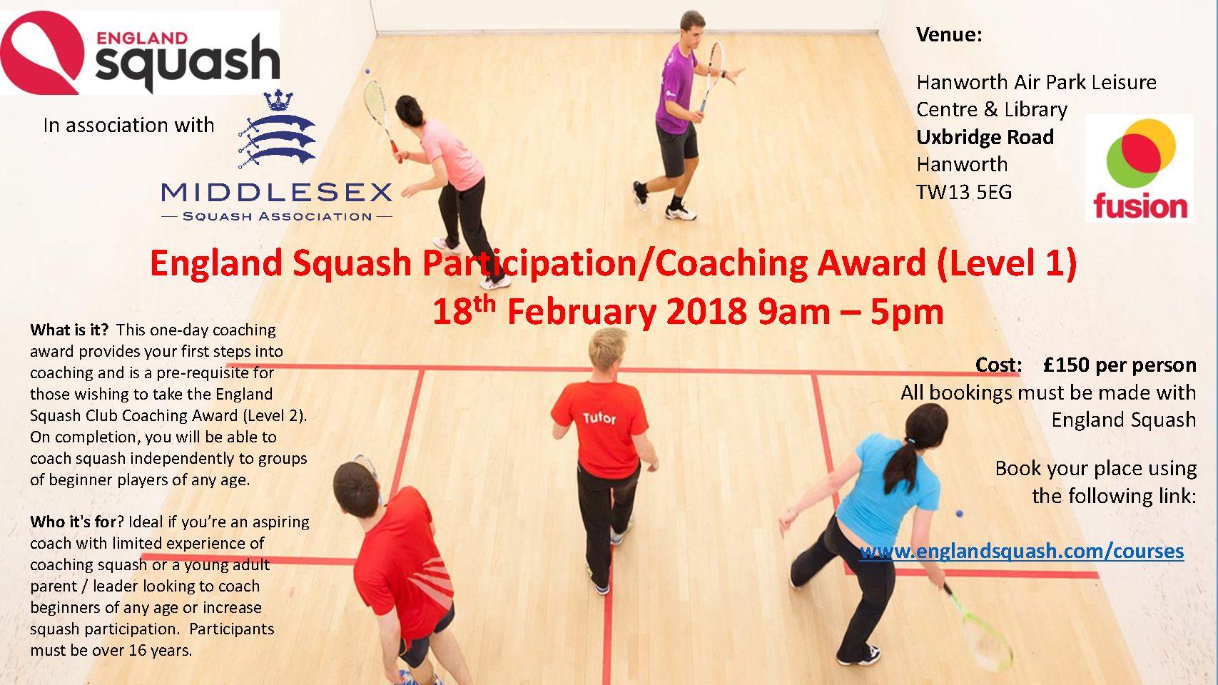 England Squash Level 1 Squash Coaching Award.