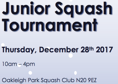 Junior Christmas Squash Tournament @ Oakleigh Park.