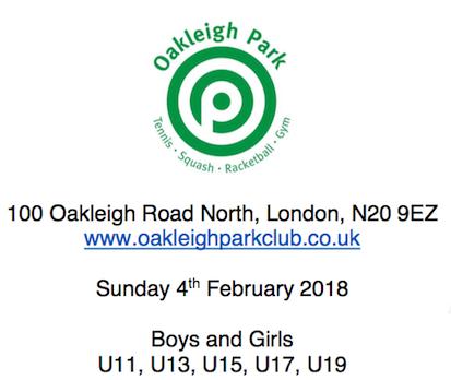 Oakleigh Park hosts England Squash Cooper Tournament