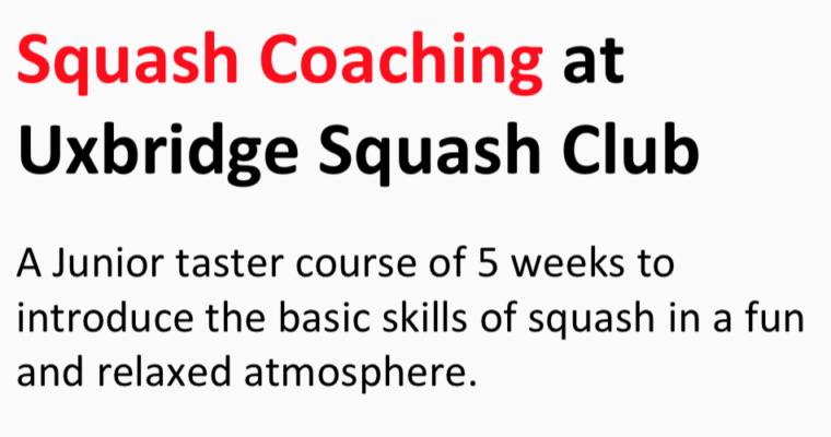 Junior Coaching at Uxbridge Squash Club