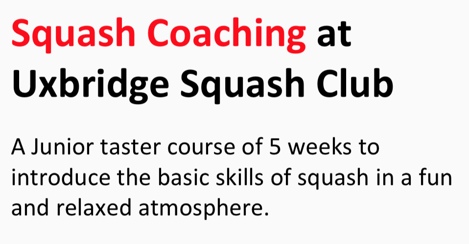 Junior Coaching at Uxbridge Squash Club