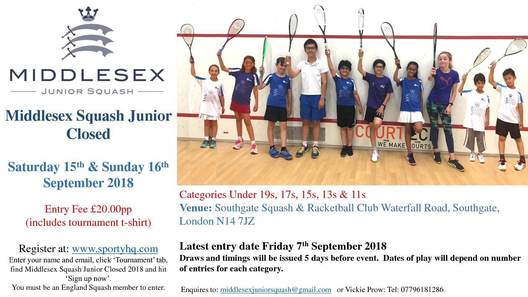 Announcement: Middlesex Junior Closed