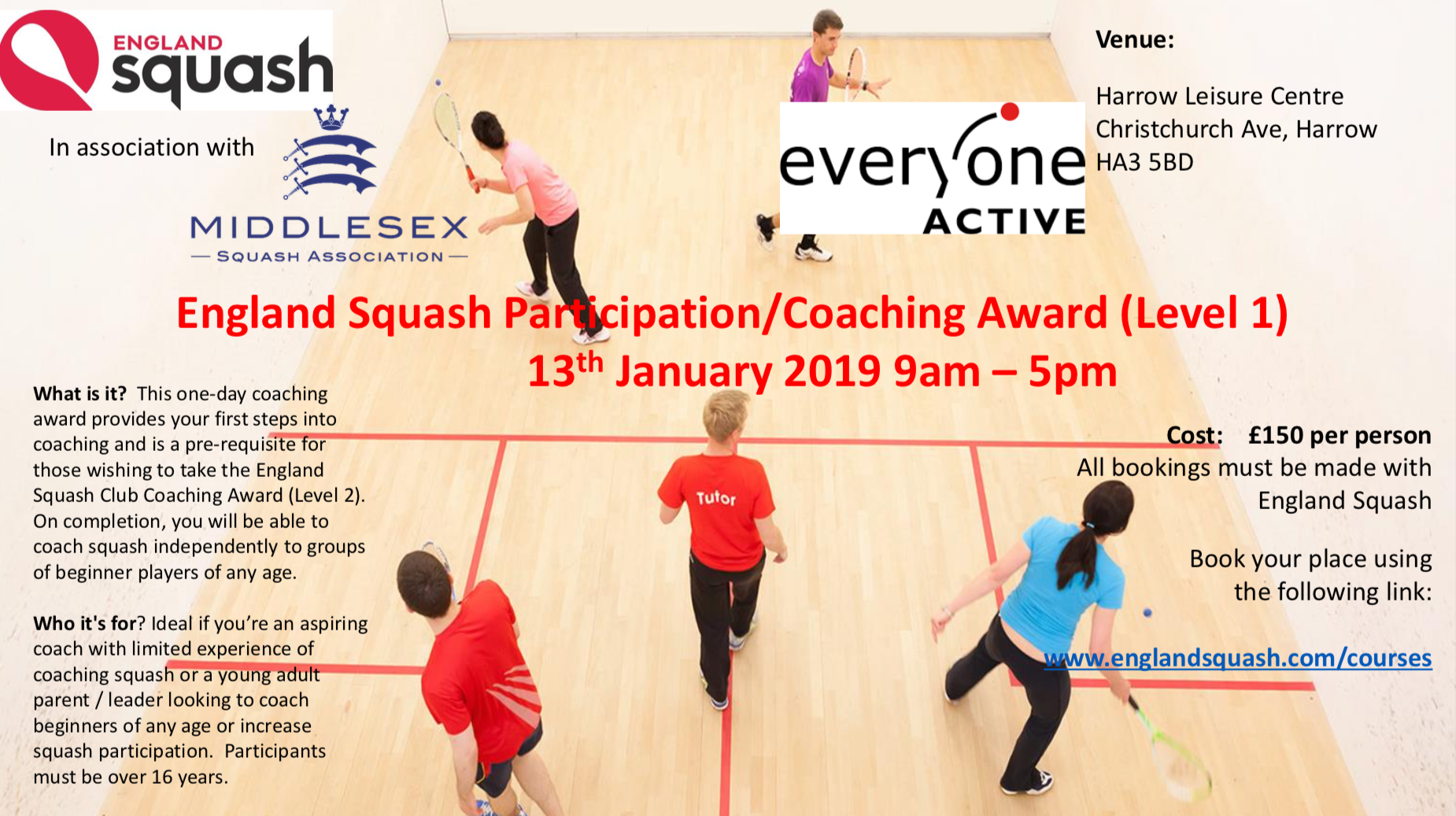 Level 1 Coaching Course @ Harrow Jan 19