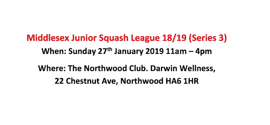 Middlesex Junior Squash League January 2019