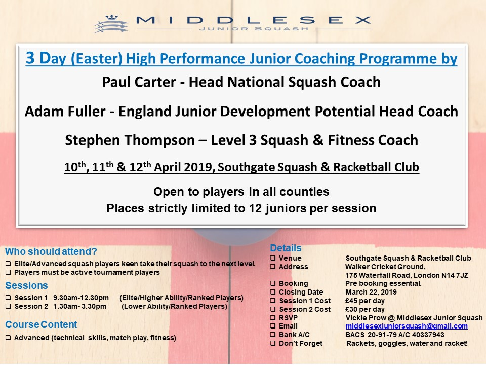 3 Day (Easter) High-Performance Junior Coaching
