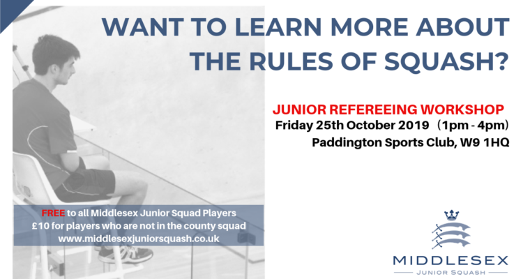 Junior Refereeing Workshop – Friday 25th October