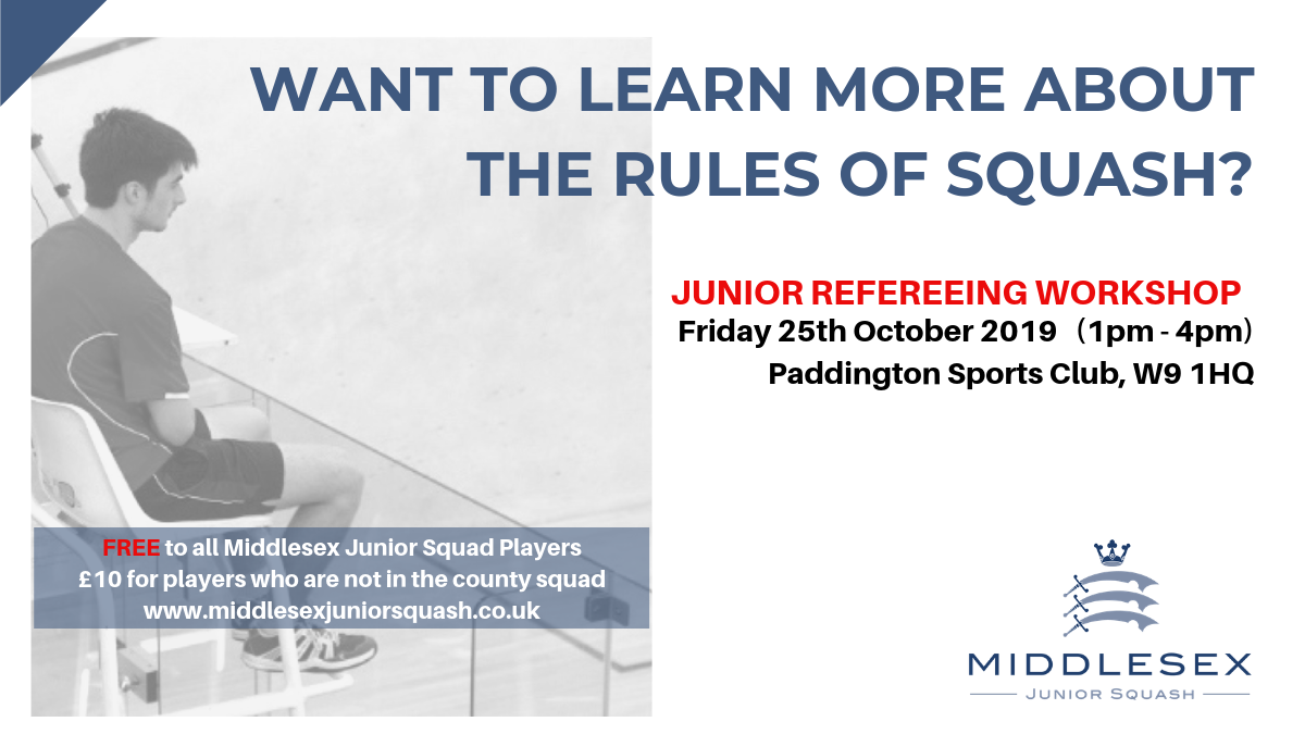 Junior Refereeing Workshop – Friday 25th October