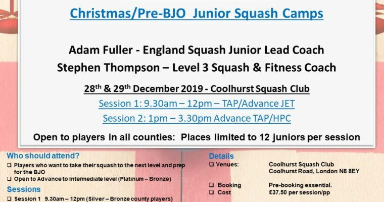 Christmas/Pre-BJO Junior Squash Camps