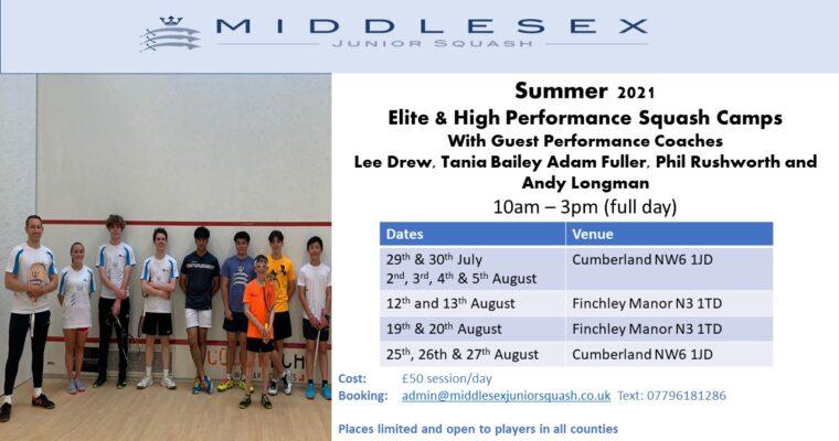 Summer 2021 'Elite & High-Performance Squash Camps'